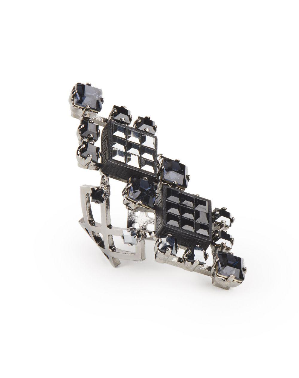 Bague Diamond Square composée de diamants en pierres Swarovski de couleur noire Lanvin – Prix €595
