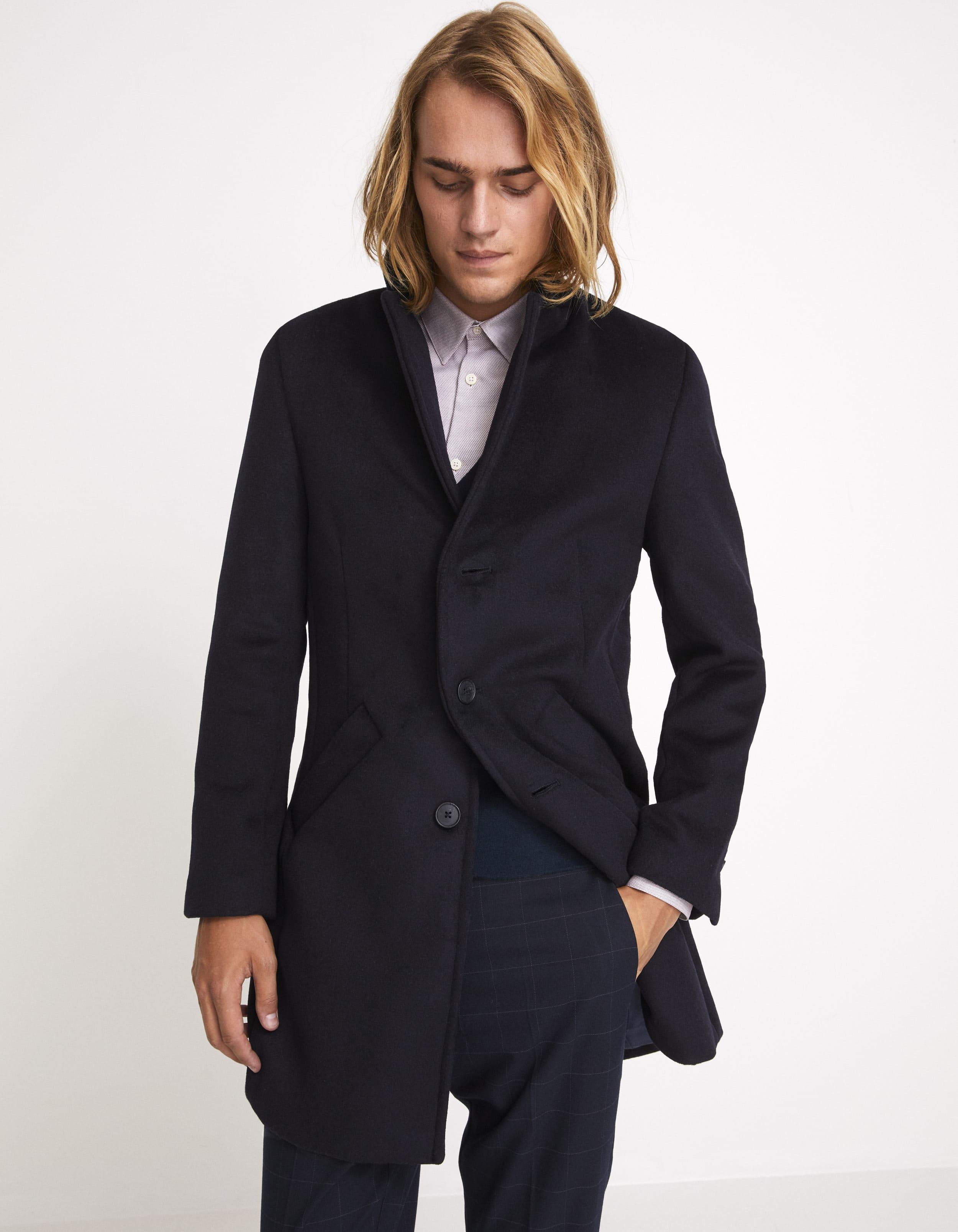 Manteau long laine mélangée – marine Celio prix 129,90 €