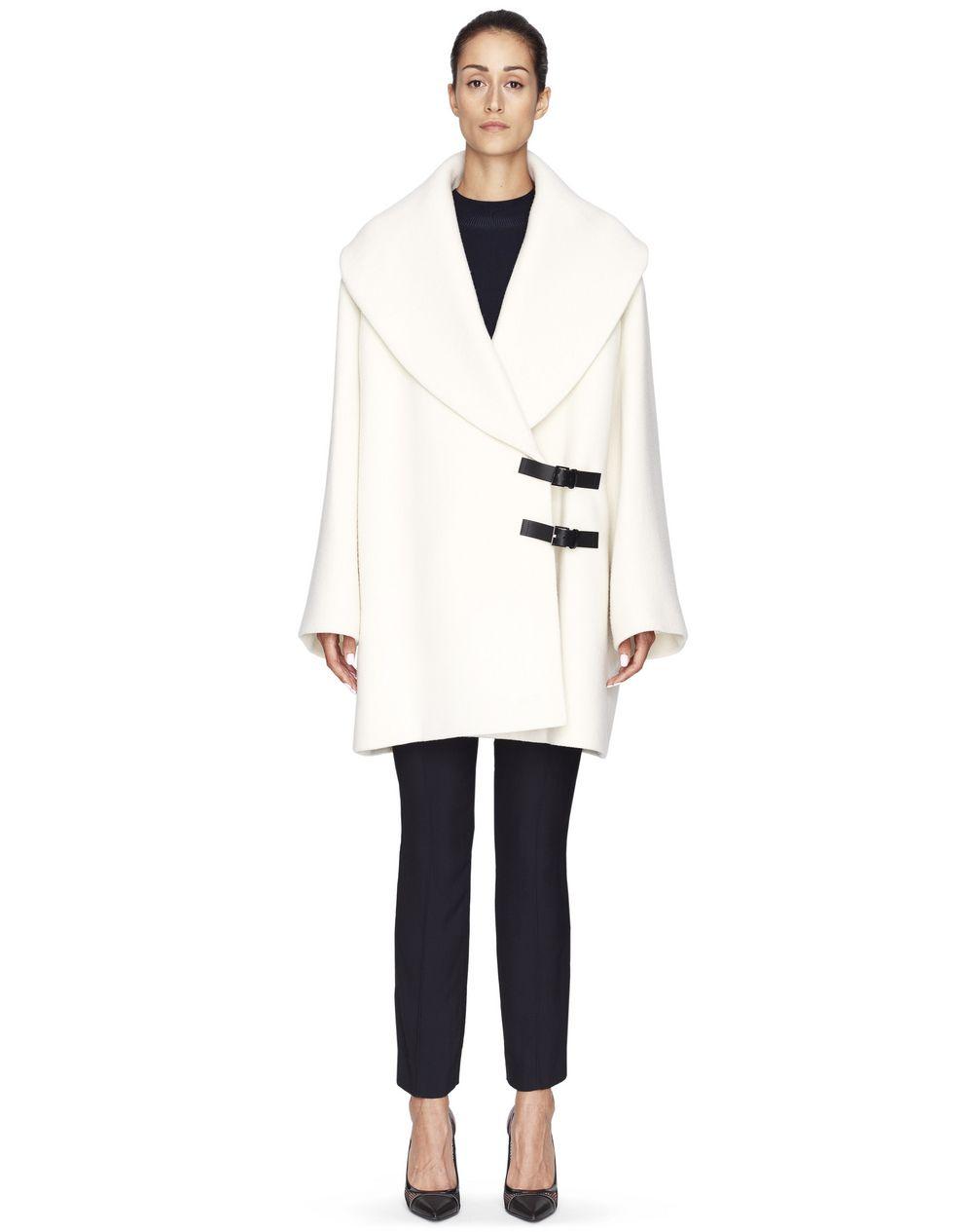 Manteau mi-long en laine bouillie couleur crème , Lanvin – Prix €3 290