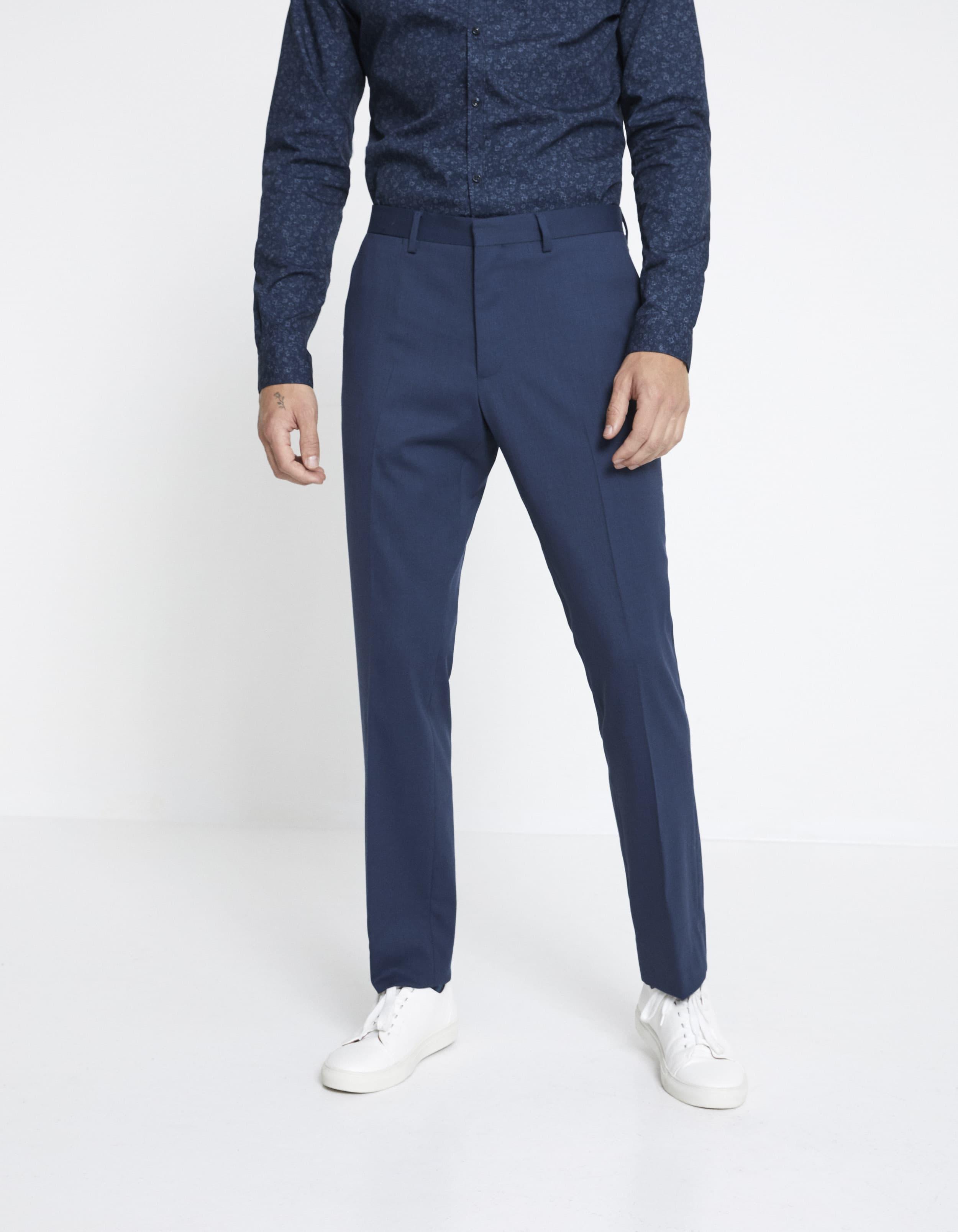 Pantalon NEY slim extensible laine mélangée uni – bleu Prix 59,99 €