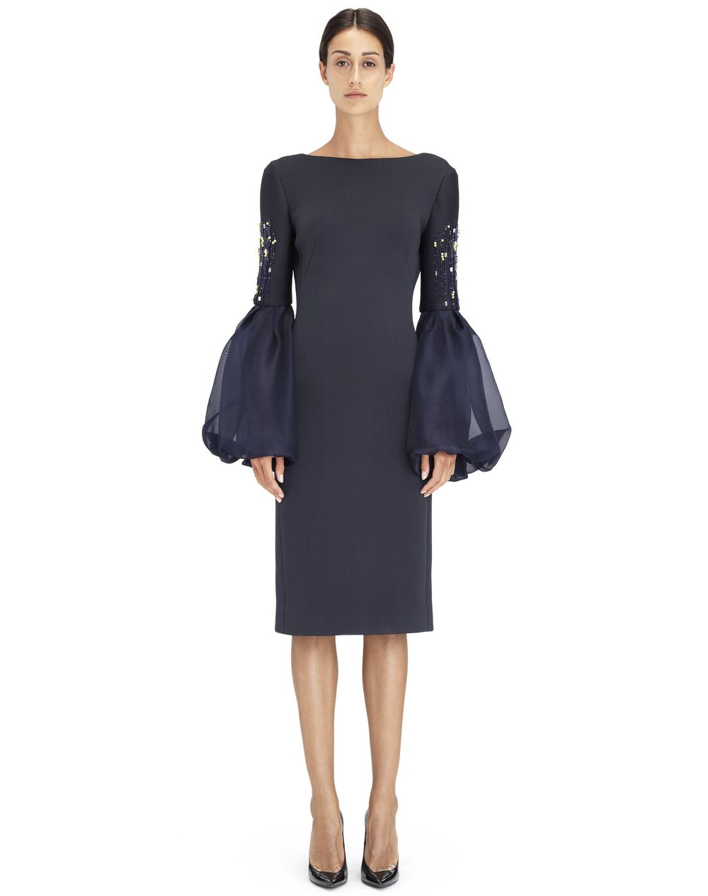 Robe cintrée en néoprène de soie de couleur anthracite, Lanvin – Prix €4 490