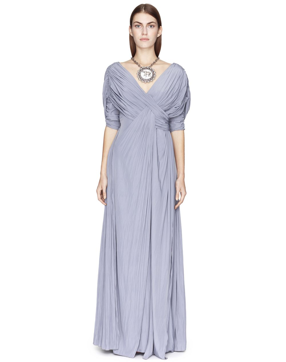 Robe longue en soie tissée de couleur béton Lanvin – Prix €2 490