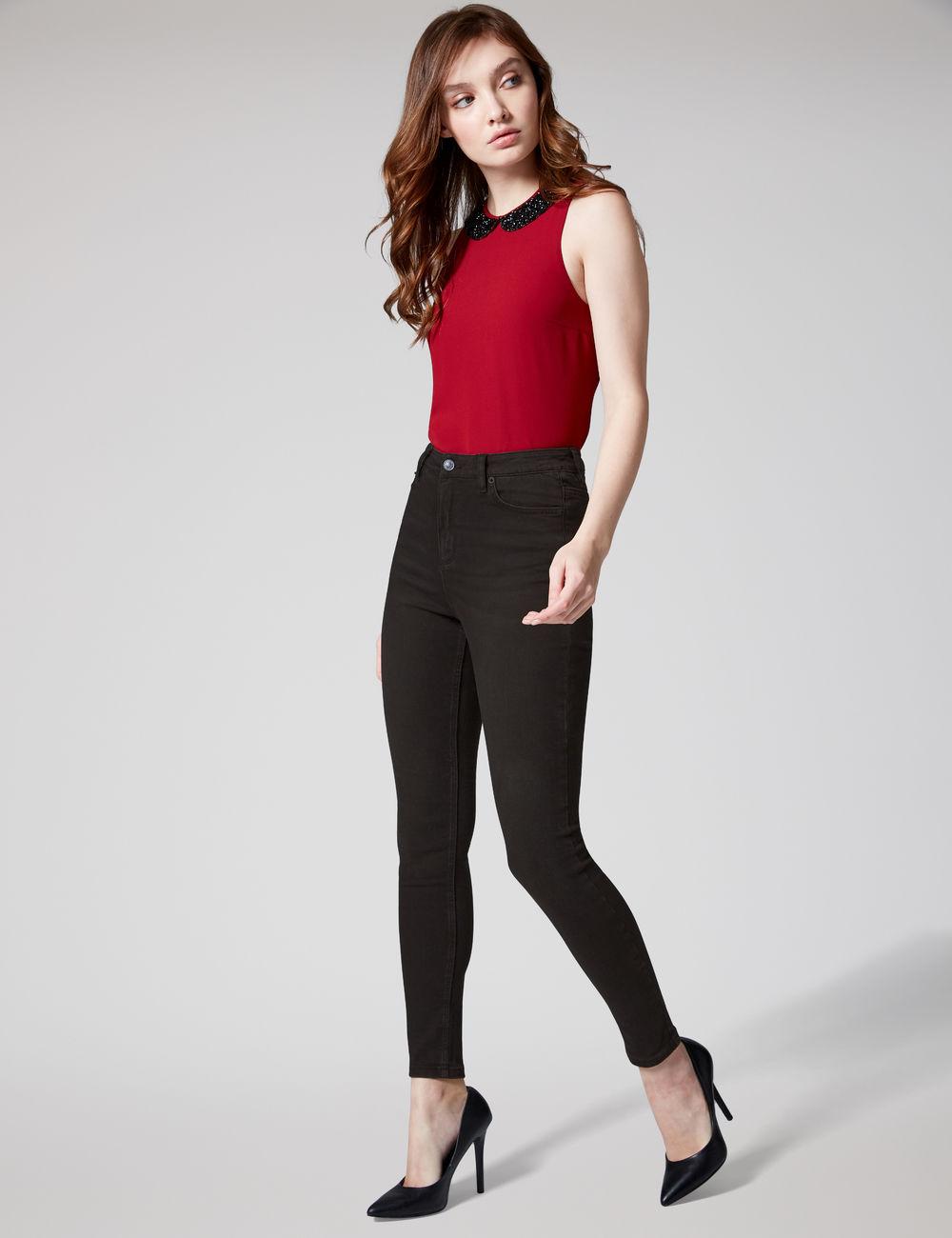 jean super skinny taille haute noir Jennyfer prix 19,99 €