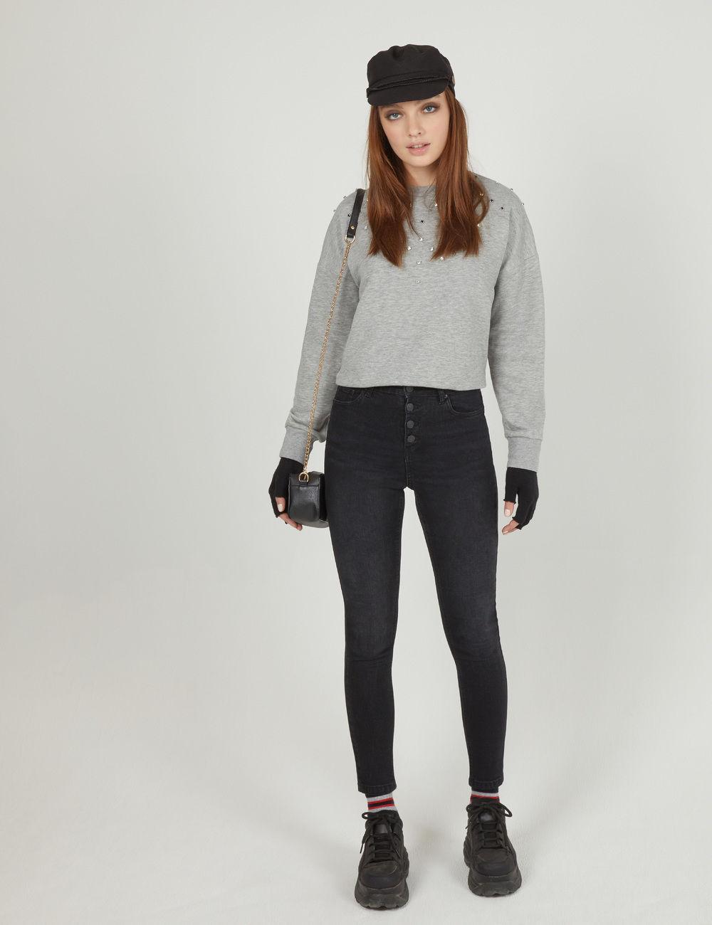 jean taille haute boutonné noir Jennyfer prix 24,99 €