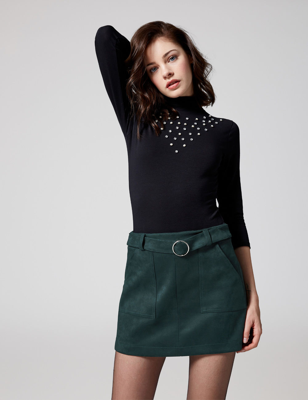 jupe suédine avec ceinture verte Jennyfer prix 17,99 €