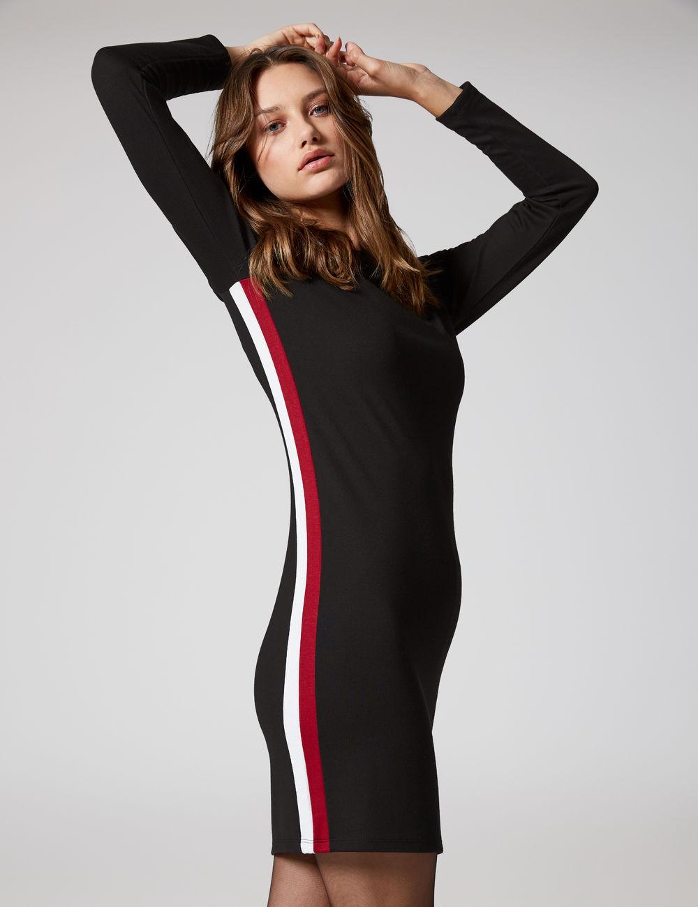 robe bandes côtés noire, bordeaux et écrue Jennyfer prix 15,99 €