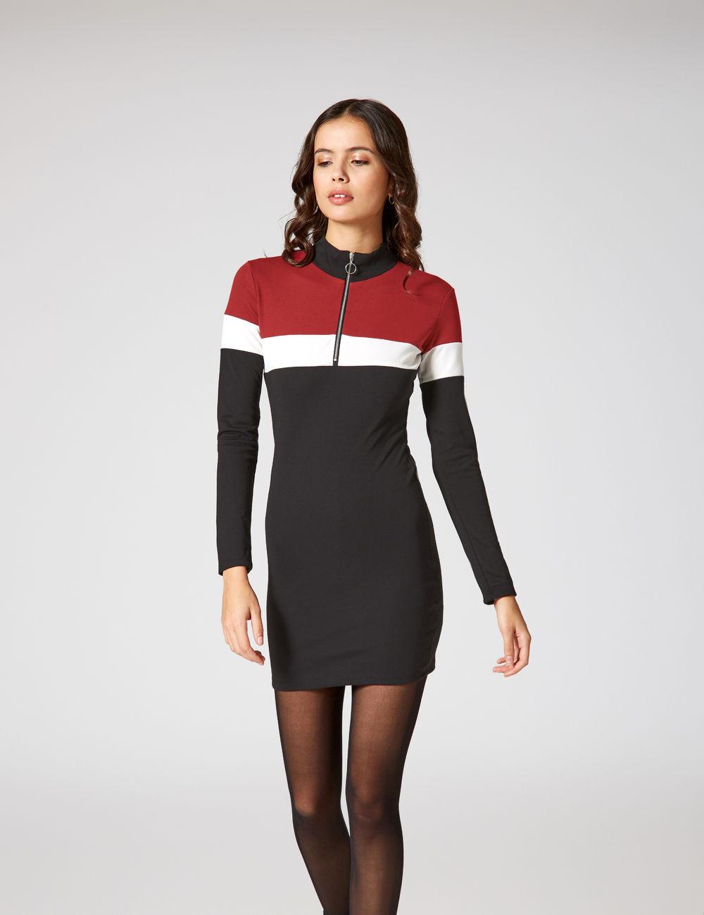 robe tricolore zippée noire, blanche et bordeaux Jennyfer prix 17,99 €