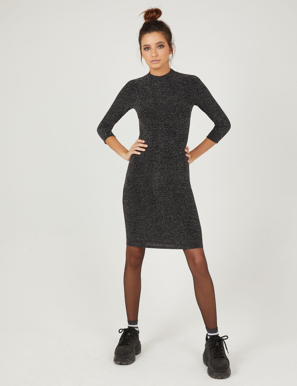 robe tube avec lurex noire et argentée Jennyfer prix 17,99 €