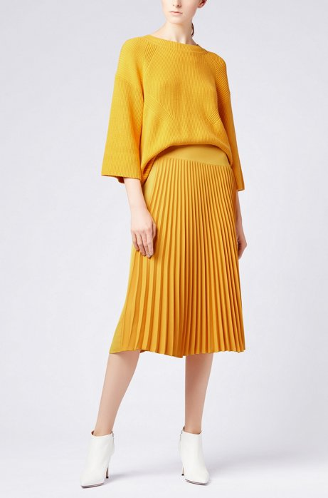 A-line midi skirt with asymmetric plissé insert HUGO BOSS