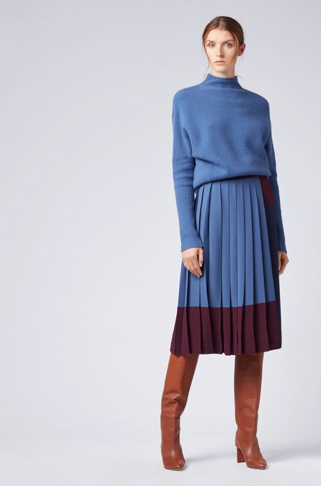 A-line skirt in stretch crepe with colourblock design HUGO BOSS