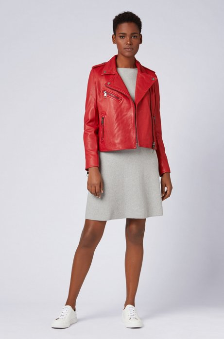 Asymmetric biker jacket in nappa lambskin leather with teddy lining HUGO BOSS