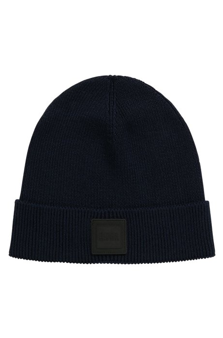Beanie hat with silicone logo badge HUGO BOSS
