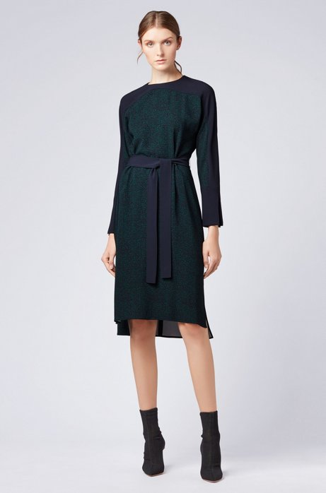 Belted dress in stretch fabric with all-over pattern HUGO BOSS