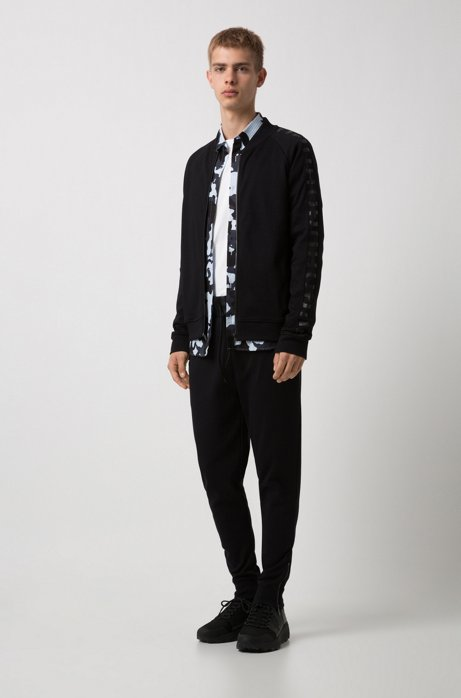 Bomber jacket in interlock cotton with logo-tape sleeves HUGO BOSS