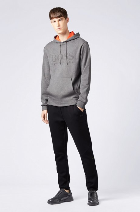 Double-faced hooded sweatshirt with embossed logo HUGO BOSS