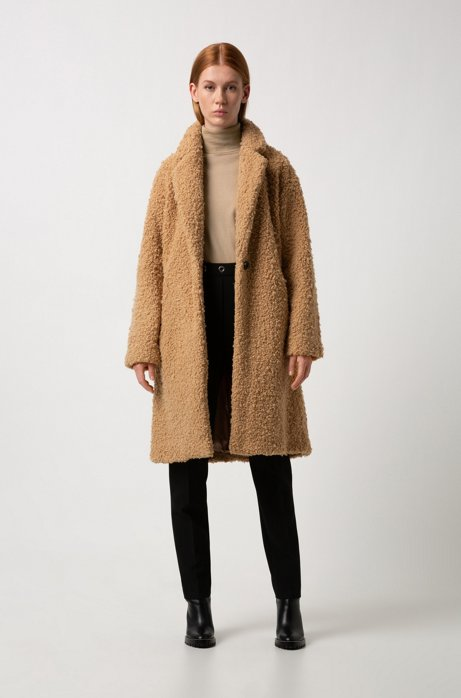 Egg-shaped coat in teddy fabric HUGO BOSS