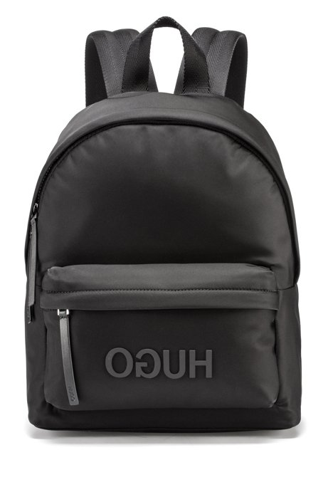 Gabardine backpack with tonal reverse logo HUGO BOSS