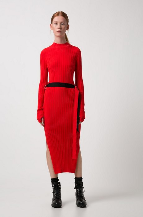 Knitted tube dress in stretch yarn with tape belt HUGO BOSS