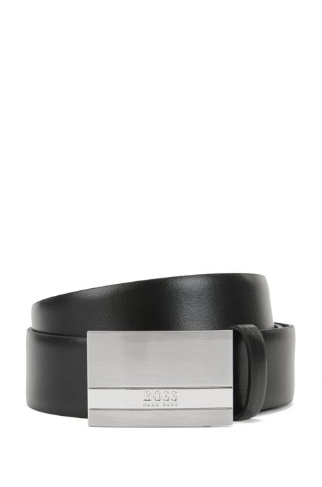 Leather belt with brushed-silver plaque HUGO BOSS