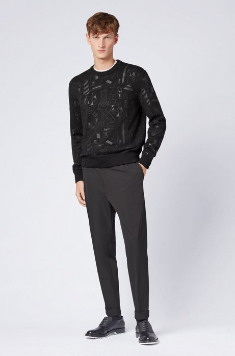 Limited-edition relaxed-fit sweater with rubberised Jeremyville print HUGO BOSS