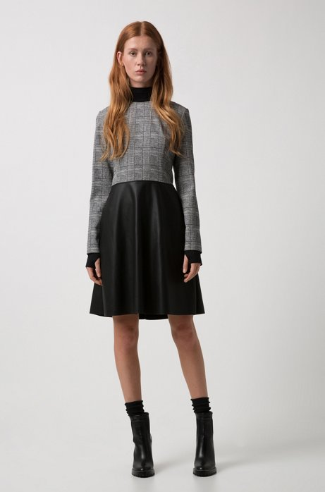 Long-sleeved dress with faux-leather flared skirt HUGO BOSS