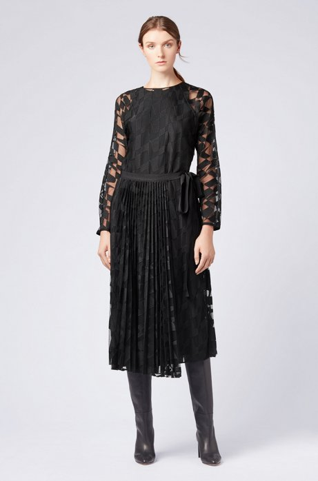 Long-sleeved midi dress in embroidered tulle with plissé HUGO BOSS