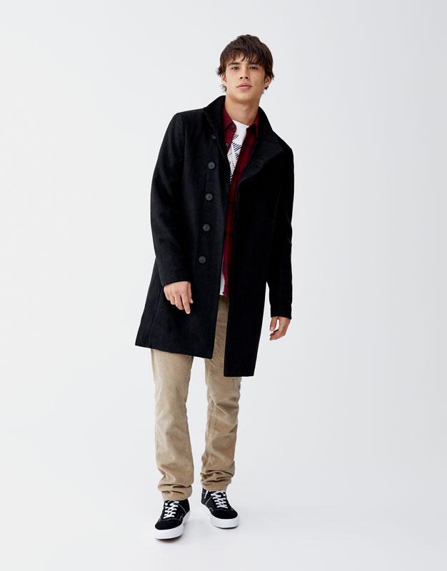 Manteau en drap de laine noir Pull&Bear Prix 299.00 TND