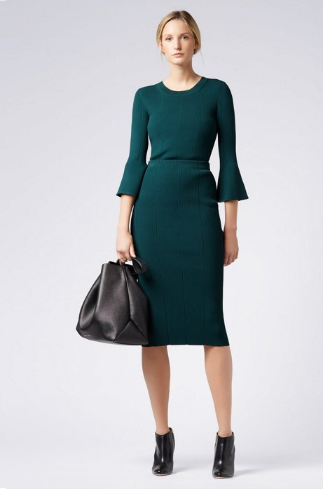 Pencil skirt in 3D-ribbed fabric HUGO BOSS