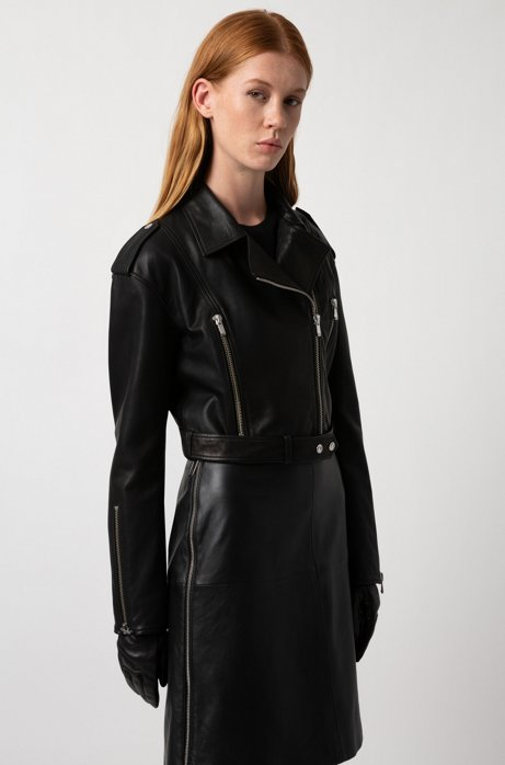 Regular-fit A-line skirt in lambskin with side zip HUGO BOSS