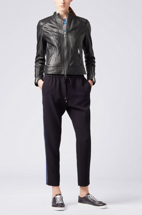 Regular-fit biker jacket in lambskin nappa leather HUGO BOSS