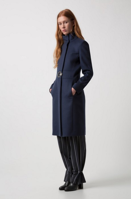 Regular-fit coat in a virgin wool blend HUGO BOSS