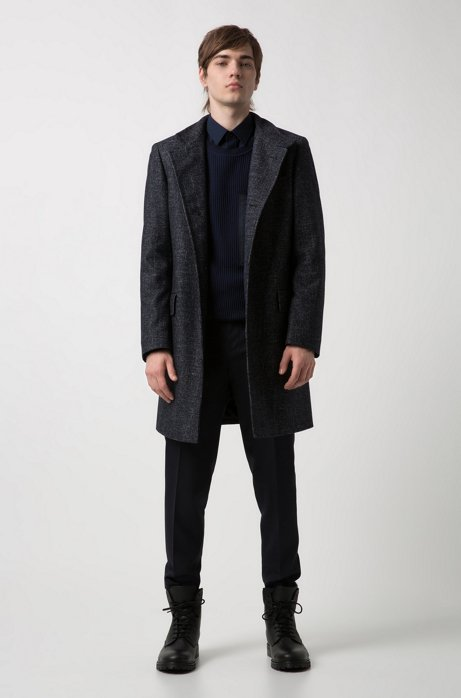 Regular-fit coat with all-over micro pattern HUGO BOSS