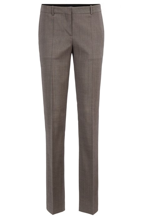 Regular-fit tailored trousers in sharkskin virgin wool HUGO BOSS