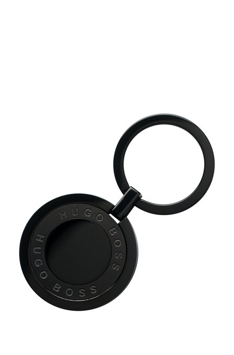 Round key ring in black-plated stainless steel HUGO BOSS