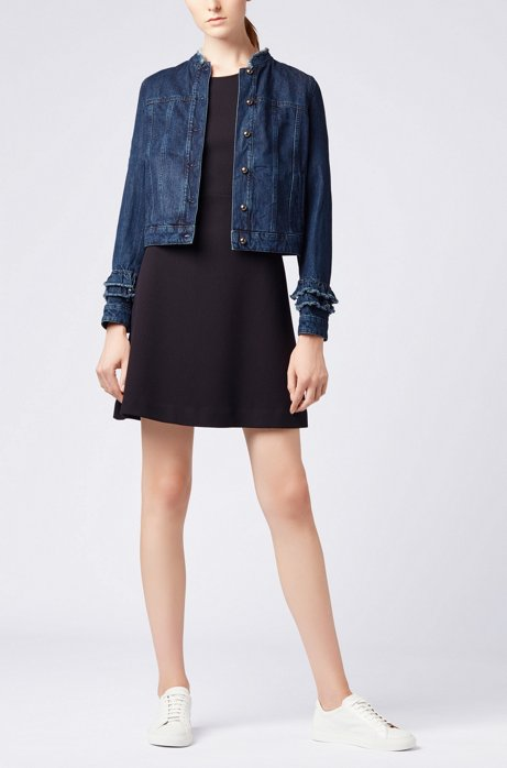 Ruffle-detail jacket in Spanish recycled denim HUGO BOSS
