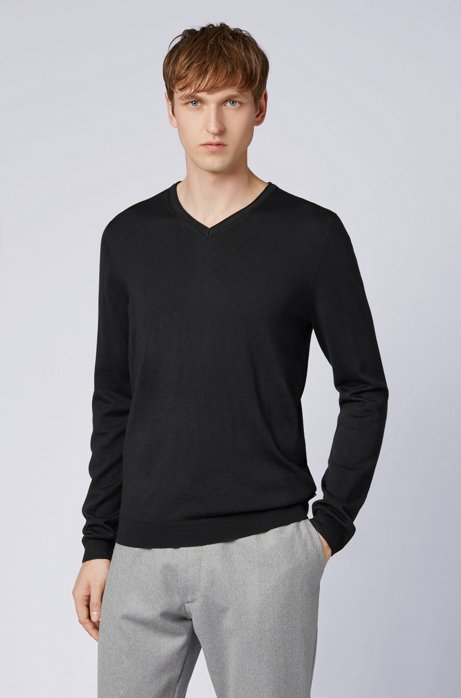 Slim-fit V-neck sweater in fine-knit Merino wool HUGO BOSS