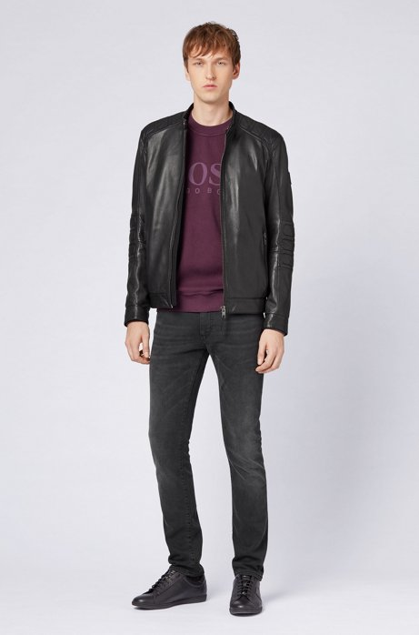 Slim-fit biker jacket in part-quilted leather HUGO BOSS