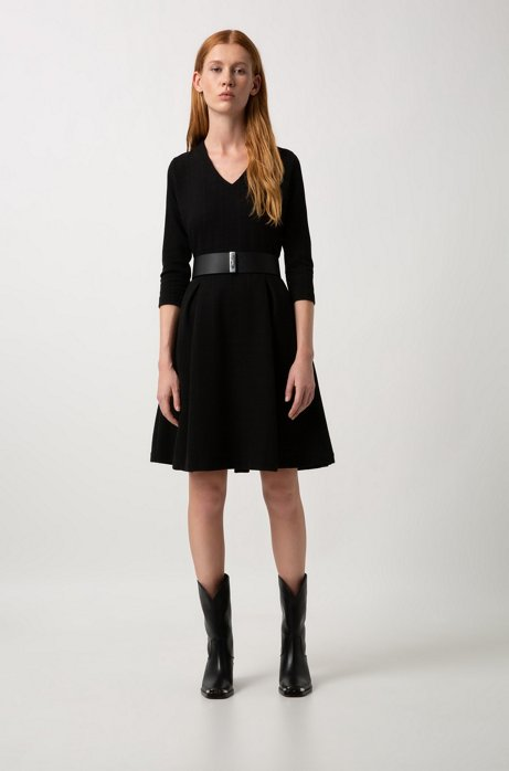 Slim-fit dress in cotton jersey with tonal squares HUGO BOSS