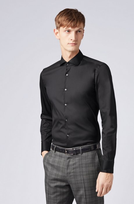 Slim-fit shirt in stretch poplin HUGO BOSS