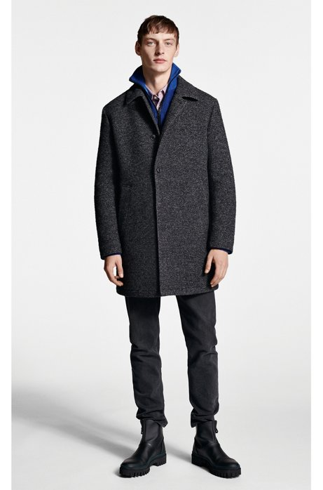 Slim-fit short coat in padded two-tone twill HUGO BOSS