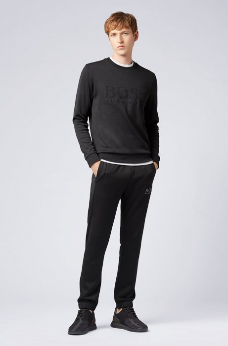 Slim-fit sweatshirt with tonal embossed logo HUGO BOSS