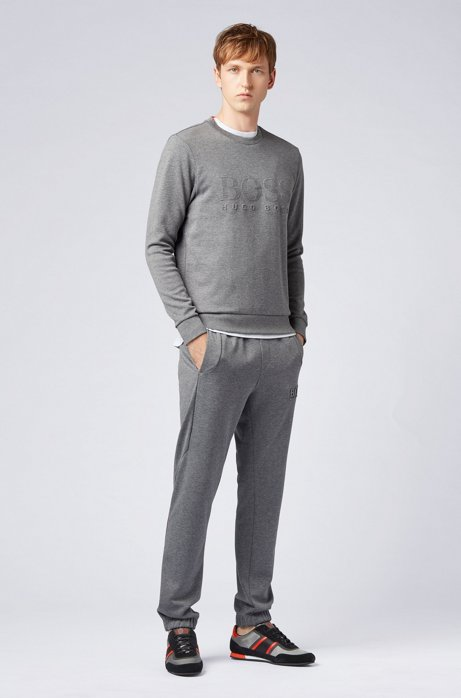 Slim-fit sweatshirt with tonal embossed logo HUGO BOSS2
