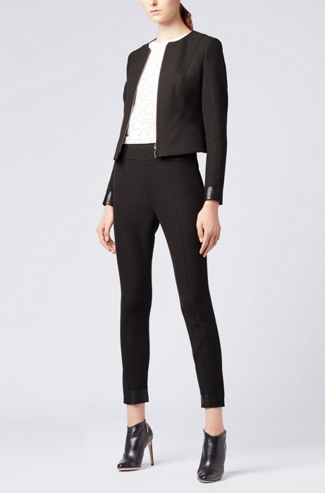 Slim-fit trousers in stretch twill with contrast inserts HUGO BOSS