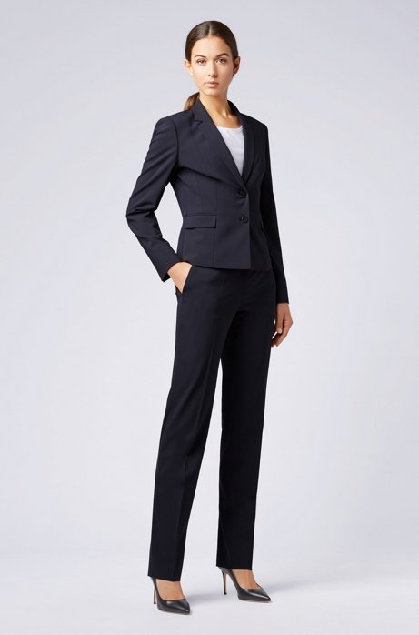 Straight-leg business trousers in stretch wool HUGO BOSS