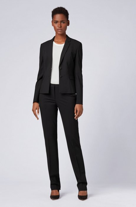 Straight-leg business trousers in stretch wool HUGO BOSS2