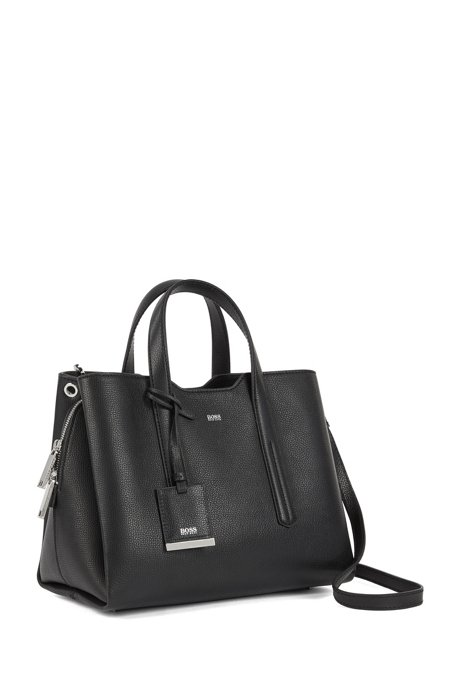 Tote bag in softly structured grainy Italian leather HUGO BOSS