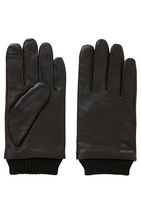 Touchscreen leather gloves with knitted cuffs HUGO BOSS