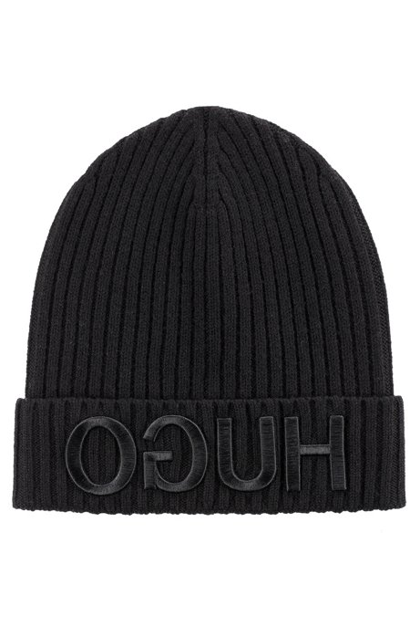 Unisex beanie hat in wool with reverse logo HUGO BOSS