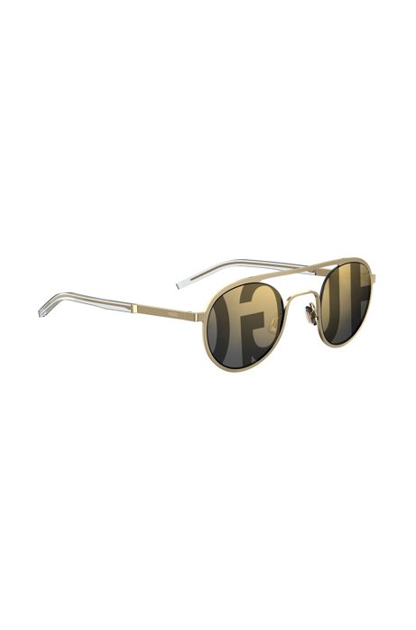 Unisex gold-tone round sunglasses with logo lenses HUGO BOSS