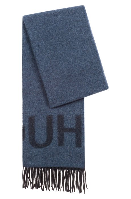 Unisex reverse-logo scarf in a brushed wool blend HUGO BOSS